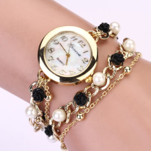 Glorious High quality Model New Girls Bracelet Watch Girls Pearl Jewellery Metal Wristwatch Feminine Women Gown Informal Trend Watch