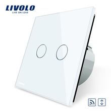 FREE Shipping, Livolo EU Standard Touch house home led remote curtains Switch, Luxury White Crystal Glass Panel, C702WR-1/2/5