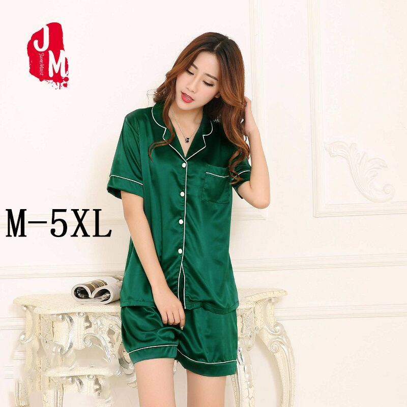 Short Pajama Set Plus Size 5XL Women Satin Silk Pijama Short Sleeve Top 2pc  Set Summer Nightwear Sleepwear Nighty Suit Pyjama 7546d0299