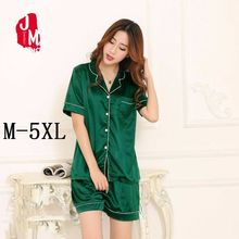 Short Pajama Set Plus Size 5XL Women Satin Silk Pijama Sleeve Top 2pc Summer Nightwear Sleepwear Nighty Suit Pyjama