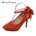 Meotina Women's Pumps Pointed Toe Flock Wedding Stiletto High Heels Female Crystal Black White Orange Shoes Plus Size 34-43