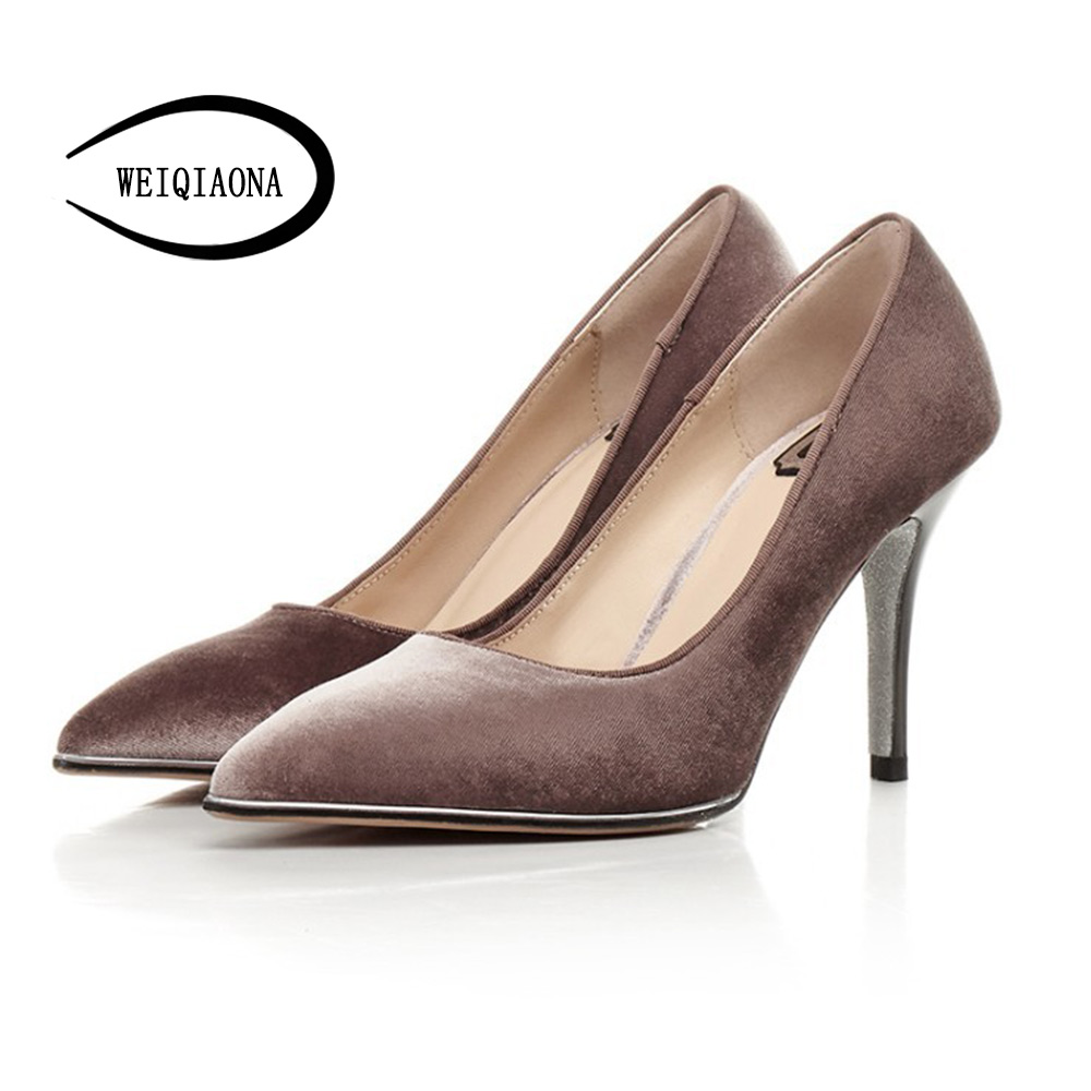Classic women High Heel Shoes  Velvet Pointed Toe Pumps Shoes Fashion Sheepskin inside the breathable shoes Size 34-39