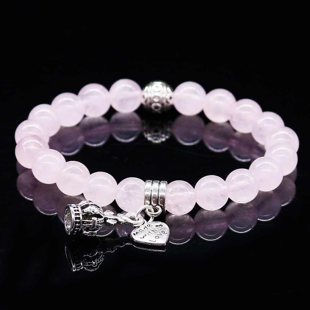 Natural Stone Pink Crystal Bracelets & Bangles For Women Men Silver Color Pendent Charm Bracelet Casual Jewelry Love Gift