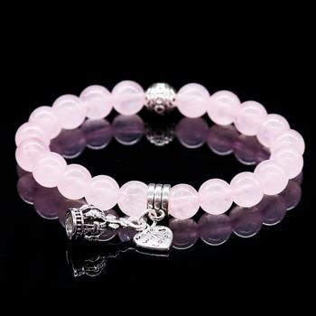Pulsera de cristal rosa con piedra Natural para hombre y mujer brazalete con abalorio de Color