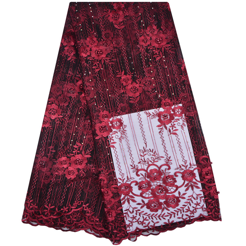 Elegant Burgundy Wine Wholesale Bridal Nigerian Lace Fabrics With Beaded African French Lace Fabric For Wedding