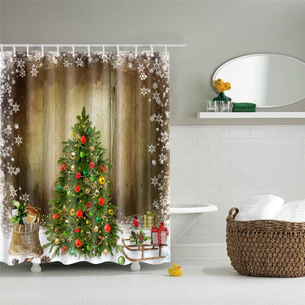 Duschvorhang Schlitten Wasserdicht Weihnachten Badezimmer Badewanne ...