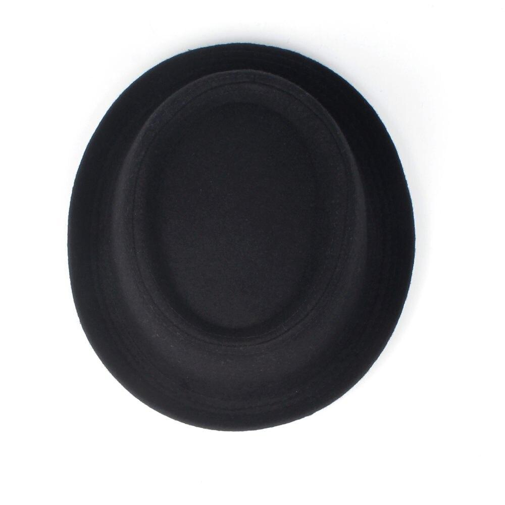 100% Wool Men Pork Pie Hat For Dad Winter Black Fedora Hat For Gentleman Flat Bowler Porkpie Top Hat Size S M L XL 3