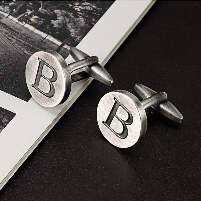Запонки lepton в с буквами алфавита для мужчин классические