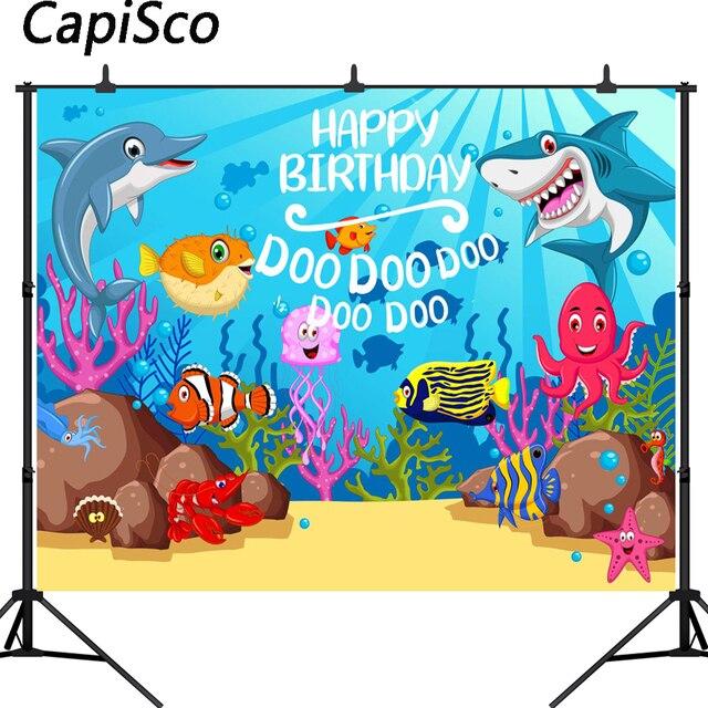 Capisco Baby Shark Birthday Party photography backdrops Cartoon Coral Underwater Poster Photo Background Backdrops Photo Studio