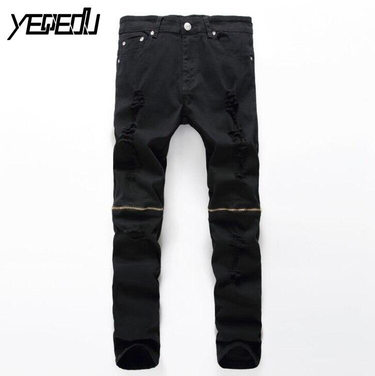 #2709 Black ripped jeans men Skinny Fashion Pantalones hombre Jeans hommes Biker Moto jeans Jogger White/Black jeans for men new fashion black ripped hip hop biker jeans stretched men s jeans pantalones vaqueros hombre bmy6607