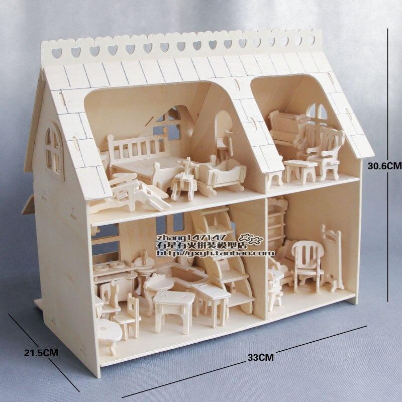 DIY Jigsaw Puzzles 3D en bois puzzle dollhouse maison de poupée avec des meubles jouet ensembles lit chaise Éducatifs jouets pour enfants cadeaux