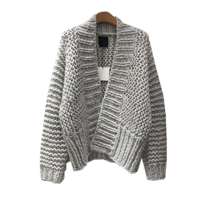 ca50135ba6c Осенний женский кардиган свитер зимний толстый грубая шерсть свободный  длинный рукав v-образный вырез свитер женский теплый вязаный джемпе.