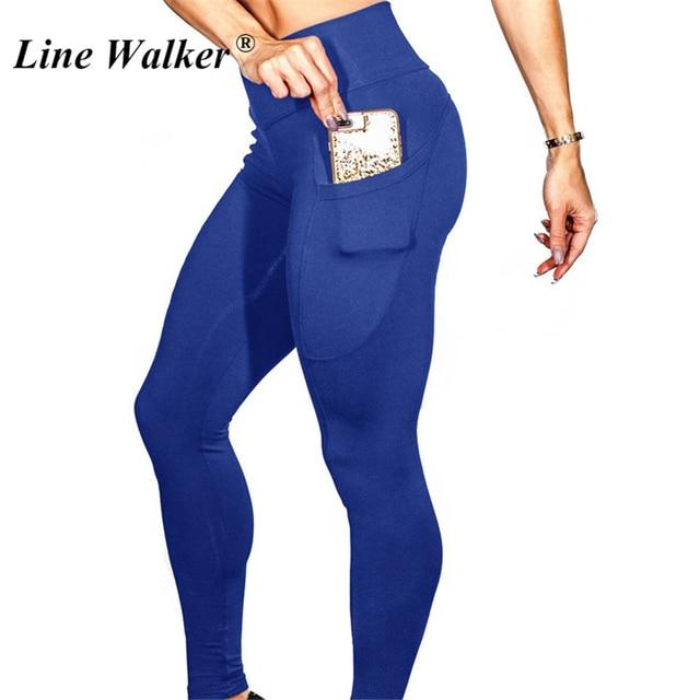 Line Walker Running Jogger Tights Women High Waist Stretchy Sport Fitness Pants Quick Dry Reflective Yoga Gym Pocket Leggings