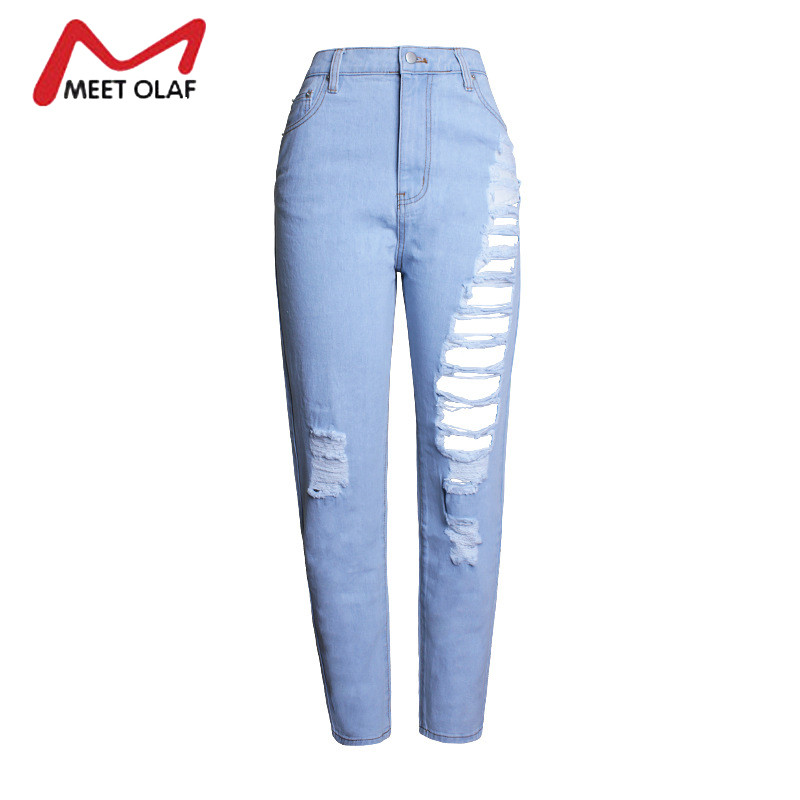 Women Ripped Jeans High Waist Boyfriend Loose With Torn Holes Vintage Denim Pants Female Ankle Length Trousers Plus Size YL649 loose ankle length jeans for women 2017 new vintage distressed high waist ripped denim harem pants woman trousers plus size