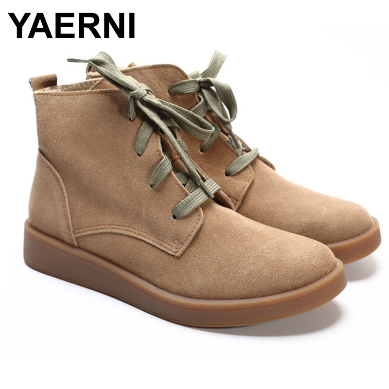 YAERNI Shoes Woman Ankle Boots 100% Genuine Leather Women's Boots Round toe lace up Boots Female Footwear front lace up casual ankle boots autumn vintage brown new booties flat genuine leather suede shoes round toe fall female fashion