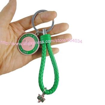10pcs 1lot AKA  Ivy leaf  Since 1908 keychain  Fashion Braided Leather Tag Keychain Car Keychain auto Keyring