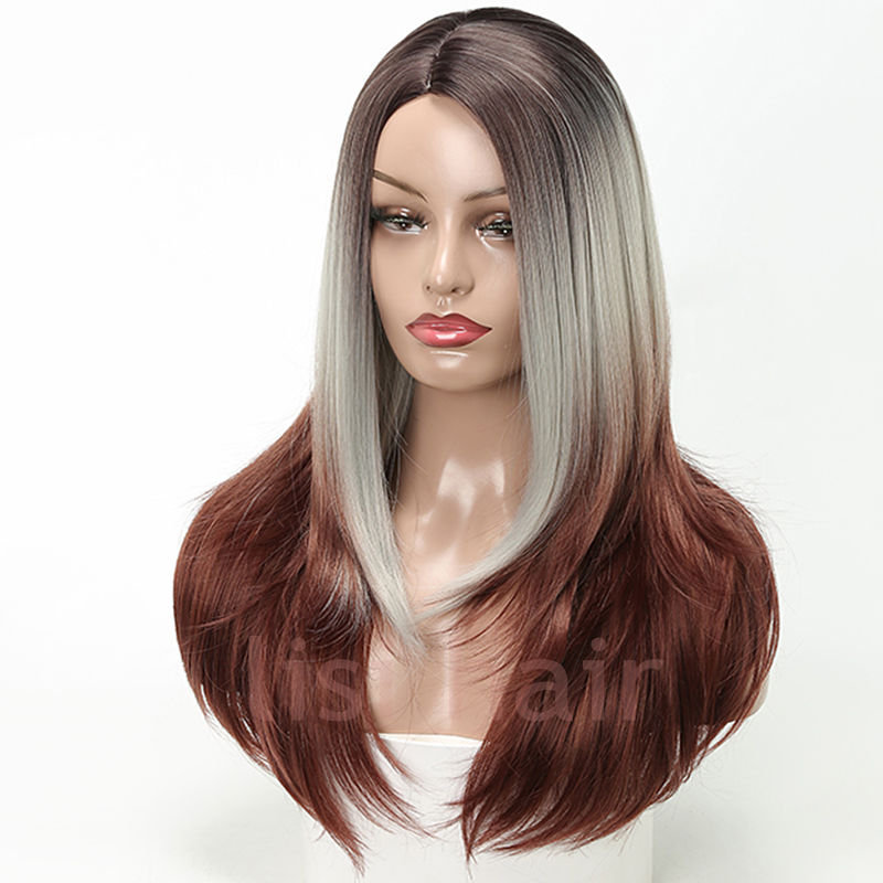 LISI HAIR 22inch Silver grey Ombre Brown Synthetic Wigs for Women Long Straight False Hair