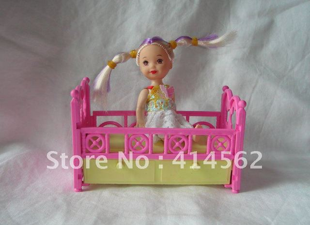 free shipping, doll accessories, doll bed, toy baby bed, plastic bed, doll furniture
