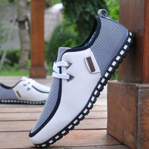 Fashion Sneakers Men Casual Shoes Leather Driving Shoes Flats Men Loafers Slip On SIZE 39-46 White Black