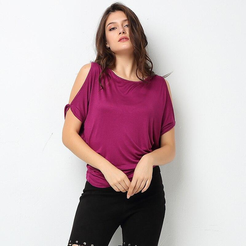 HTB1CNF1SFXXXXcOXXXXq6xXFXXXr - T-shirt Batwing Sleeve Off Shoulder Solid cotton cotton tee
