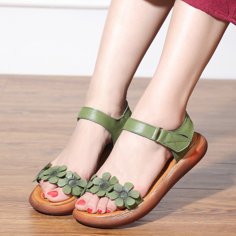 Light Comfortable Flowers Summer Fashion Sandals Genuine Leather Shoes 2019 New Women Sandals Flat Casual Shoes Summer Sandals in Women 39 s Sandals from Shoes