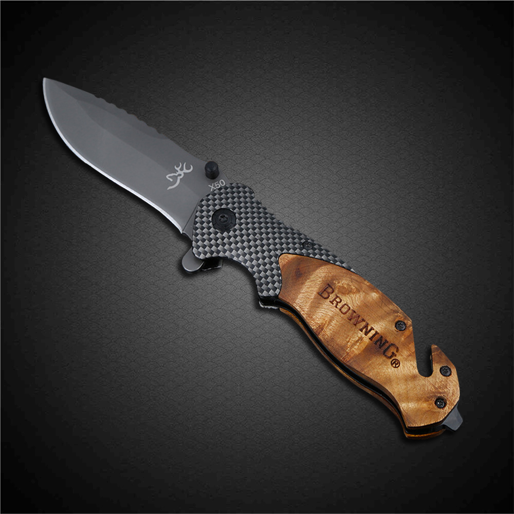 PEGASI Browning X50 Tactical Folding Pocket Knife Titanium Coating 440C Stainless Steel Blade Outdoor EDC Knives Huntsman цены