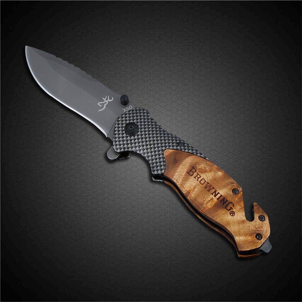PEGASI Browning X50 Taktische Faltende Taschenmesser Titan Beschichtung 440C Edelstahl Klinge Außen EDC Messer Jäger