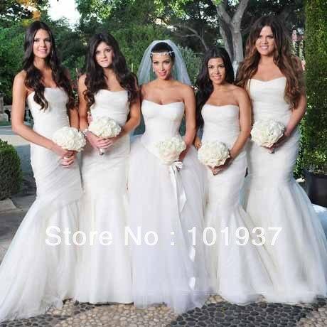 Free Shipping New Sweetheart Kim Kardashian Wedding Mermaid Trumpet Pleat Organza Long Bridemaid Dresses 1532 In Bridesmaid From Weddings Events