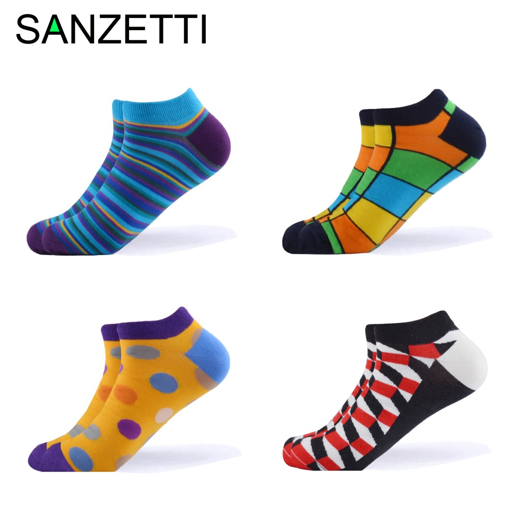 SANZETTI 4 Pairs/Lot Men's Combed Cotton Socks Casual Summer Ankle Socks Plaid Striped Animal Crazy  Pattern Party Dress Socks