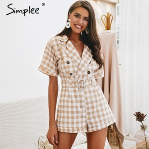 Image 3 - Simplee V neck short sleeve plaid women playsuit Elegant casual streetwear summer jumpsuit romper Sash belt ladies overalls 2019