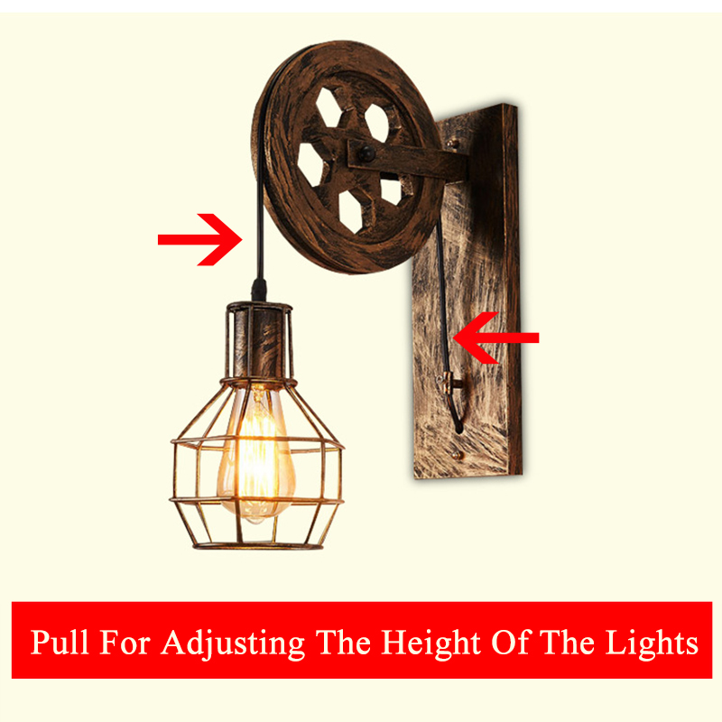 Loft retro lamp creative lifting pulley wall light dining room restaurant aisle corridor pub cafe wall lamp bra wall sconceLoft retro lamp creative lifting pulley wall light dining room restaurant aisle corridor pub cafe wall lamp bra wall sconce