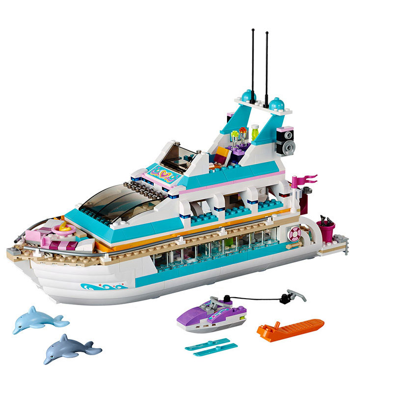 10172 Friends Series Girl Dolphin Cruiser Large Yacht Club Cruise Vessel Ship 41015 Building Blocks Bela Brick leping 618Pcs