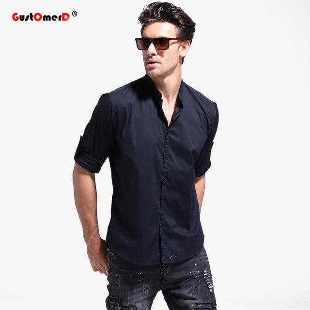 Gustomerd Весна Повседневное Для мужчин рубашка с длинным рукавом и стоячим воротником Хлопковые фирменные носки мужские рубашки Для мужчин социальных Бизнес мужская одежда Рубашки для мальчиков S-XXL