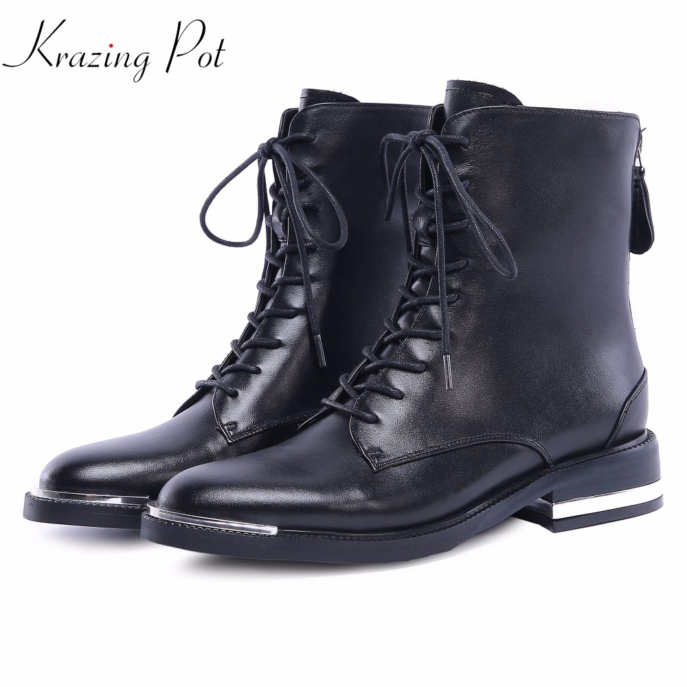 Krazing Pot recommend genuine leather metal fasteners med heels round toe lace up original design Chelsea work ankle boots L0f1 krazing pot genuine leather 2018 round toe high heels metal fasteners motorcycle boots mature women round buckle ankle boots l26