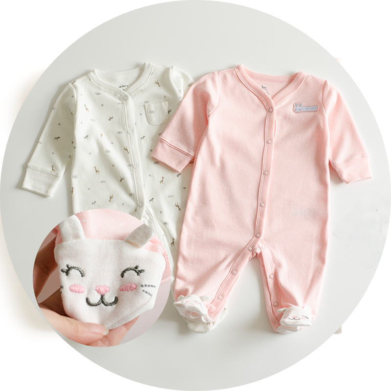 0-12 months pink Baby girl clothes Infant cartoon footies for boys girls jumpsuit Clothing animal newborn clothes baby onesie