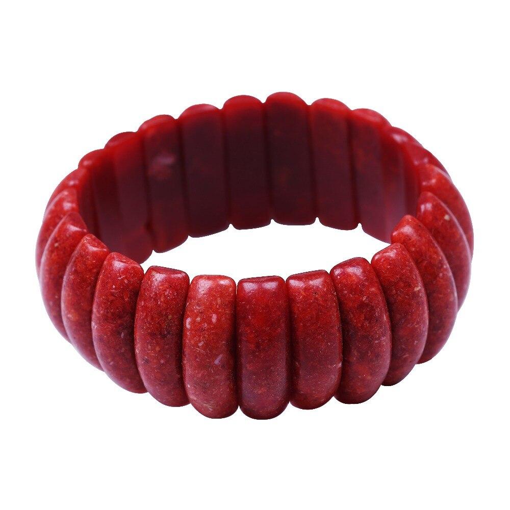 elegant style wide stretch red coral bracelet elastic Cord natural stone bead bracelet