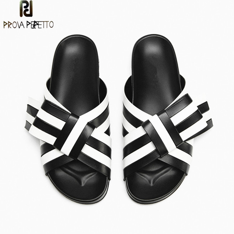 Prova Perfetto Summer Casual Slippers Women Bowknot Sandals Real Leather Flat Shoe Woman Base Thickness Loafers Student Slippers цена 2017