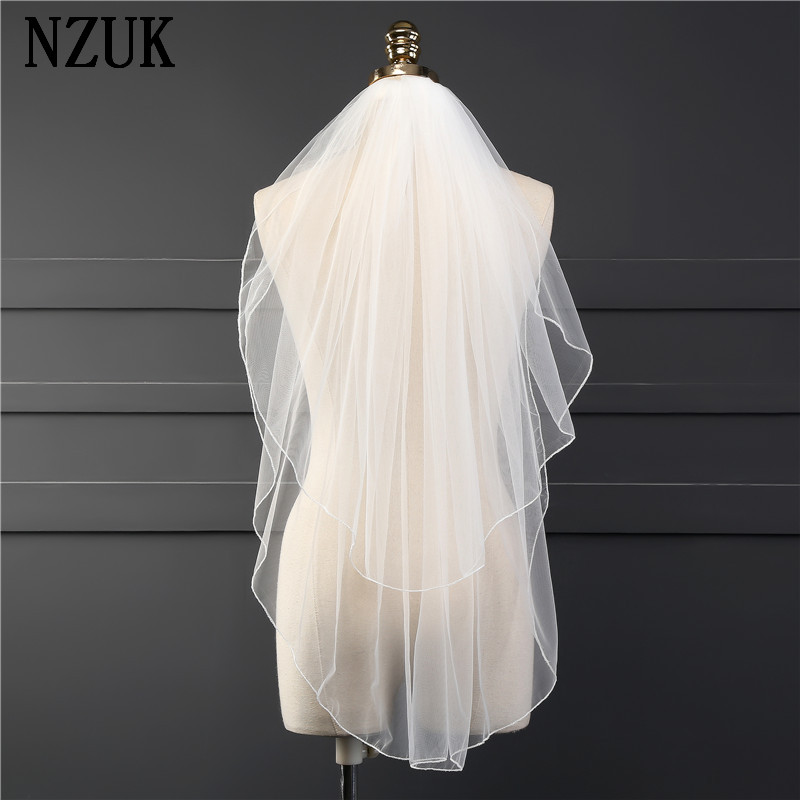 NZUK Short Bridal Veils Pencil Edge Elbow Length Soft Tulle Two Layer New 2017 Real Images Wholesale Factory Price Cheap Veil