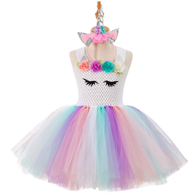 779b78df1823f US $5.69 27% OFF|3 10 year Girl cute novelty evening dress child Unicorn  Cosplay Catwalk Dress Rainbow color Spliced Elasticity personality dress-in  ...