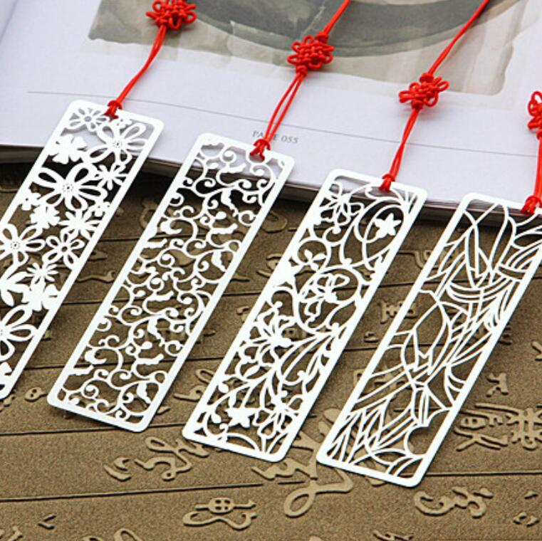 20pcs/lot Japan Vintage Hollow  Flower Series Metal Bookmark Nice Gift Stainless Steel Bookmarks Set Ruler Wholesale
