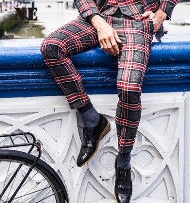 Men Autumn Warm Suit Long Pant Wedding Groom Pants Super Slim Big Red Plaid Retro Young Man Leisure Fashion Business Trousers