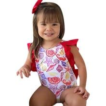One Piece Infant Baby Girls Swimwear Swimsuits Printing Bowknot Backless Bikini Swimwear Bathing Suit Swimming Wear JU1