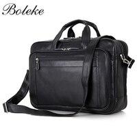Men Briefcase Full Grain Genuine Leather Handbags Office Bag for Men Messenger Bag Men Leather 16.5 inch Laptop Bag 7367
