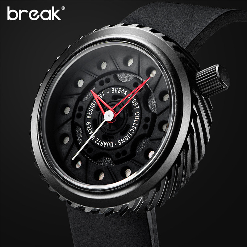 BREAK Mens Watches Top Brand Luxury Sport Watch Japan MIYOTA Silicone Strap Clock Men Quartz Watches Casual Creative Wristwatch gts 1004 waterproof male japan quartz watch silicone strap