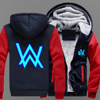 MIDUO 2018 New High Quality Men's Winter Jackets and Coats Faded Alan Walker Luminous Hoodie Luminous Thick Zipper Sweatshirts U