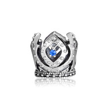 Fits For Pandora Braclets Elsa Crown Openwork Charms with Blue Cubic Zirconia 100% 925 Sterling Silver Beads Free Shipping(China)