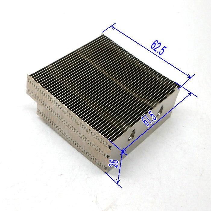 Fast Free Ship Aluminum Fins Aluminum Heat Sink Heat Pipe Fins Nickel Plating 62.5*61.5*26mm Can Across 2pcs 6mm Heat Pipe