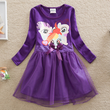 Neat new product baby girl clothes spring 2016 fashion My Little Pony printing Dresses 100% cotton long sleeve girl dress LD669#