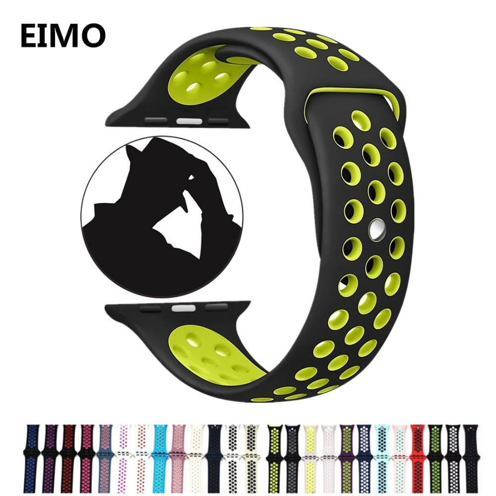 Sport Silicone strap for Apple watch band 42/38 mm 3/2/1 bracelet wrist belt watchband for iwatch band Series Nike/Edition jansin 22mm watchband for garmin fenix 5 easy fit silicone replacement band sports silicone wristband for forerunner 935 gps