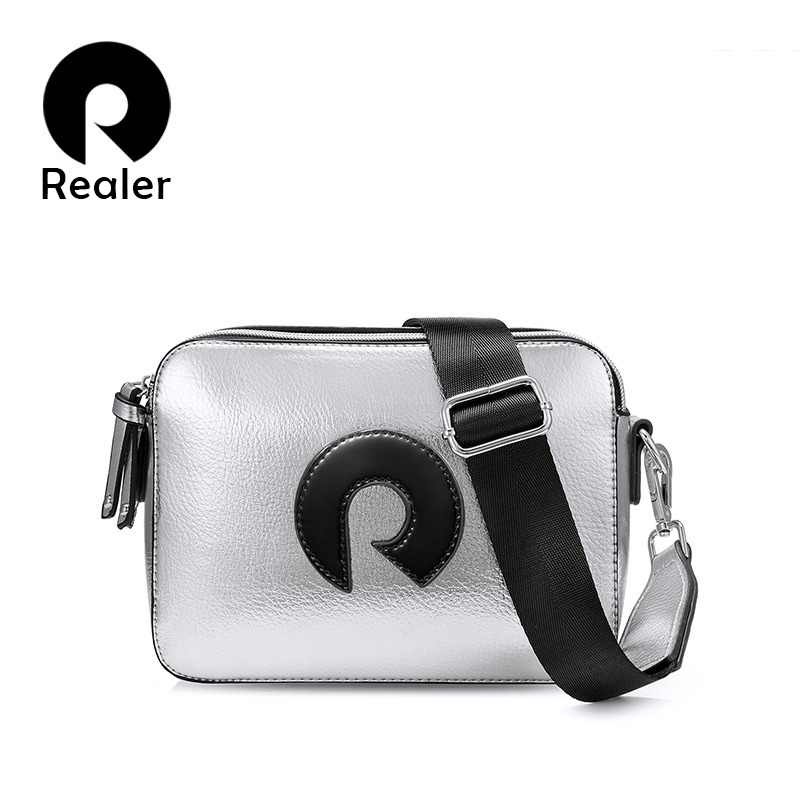 be158733aa80 REALER crossbody bags for women fashion messenger bags ladies Pewter  material shoulder bag female high quality